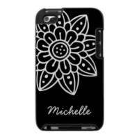 Black and white doodle flower personalized iPod touch case