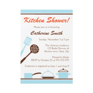 Blue and brown retro kitchen bridal shower invitation