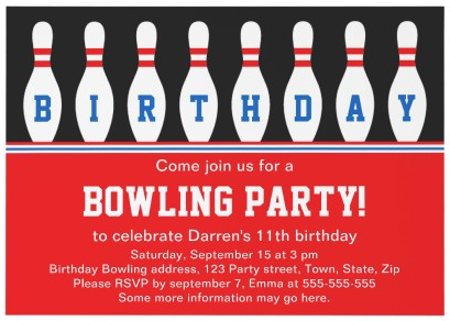 Bowling party invitation with matching postage thank you card and – Thank You Party Invitation
