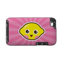 Cute kawaii lemon on pink sunburst iPod touch case