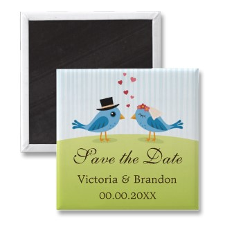 Bride and groom blue birds Save the Date magnet
