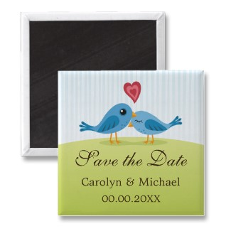 Blue birds with heart Save the Date magnet