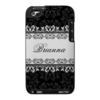 Elegant black and white damask personalized iPod touch case