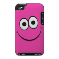 Funny pink cartoon smiley face iPod touch case