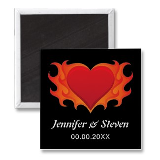 Modern Save the Date magnet with flaming heart symbolizing passion and love