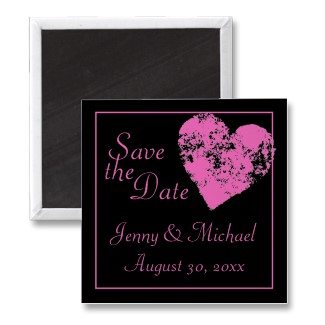 Modern pink and black heart custom wedding save the date magnet