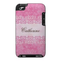 Personalized pink lace damask elegant iPod touch case