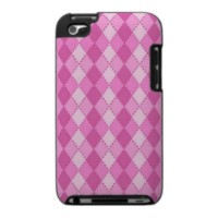 Pink argyle pattern iPod touch case