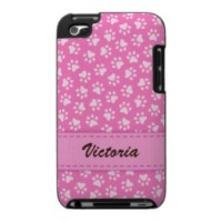 Pink personalized paw print pattern iPod Touch case with customizable name