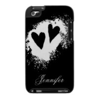Two hearts stylish personalized black and white iPod case