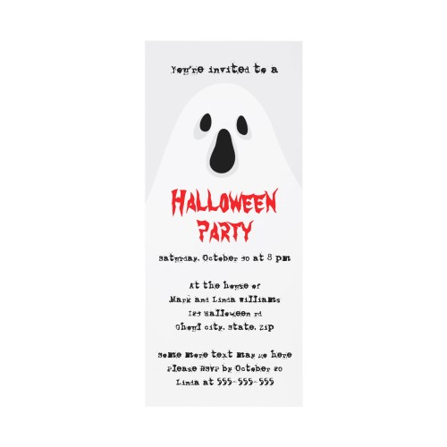 Spooky ghost Halloween party invitation – Party Invitation Reply