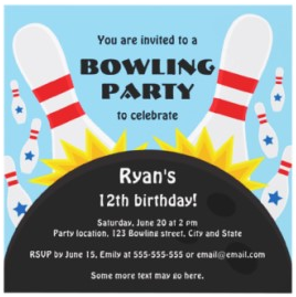Strike bowling party invitation for kids
