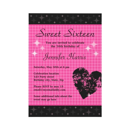 Trendy black and pink disco dots Sweet sixteen birthday party invitation