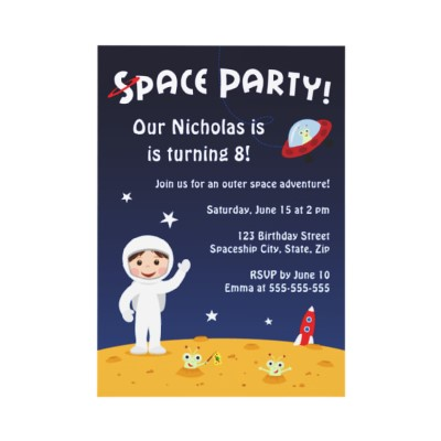 Space party invitation for kids with cartoon spaceman and cute – Reply to Party Invitation