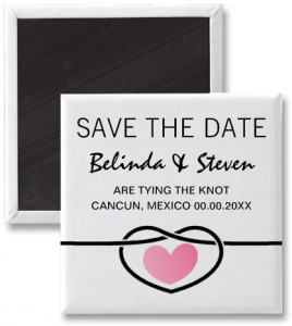 Modern love heart knot wedding Save a date magnet