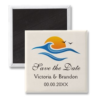 Beach tropical wave with bird destination wedding Save the Date magnet