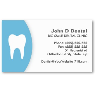 Blue and white dental / dentist business card