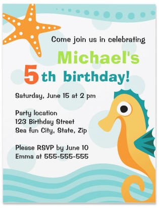 Cute and fun seahorse under the sea birthday party invitation for boys and girls