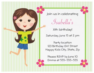 cute girls birthday party invitation with happy cartoon girl - Girl Birthday Party Invitations