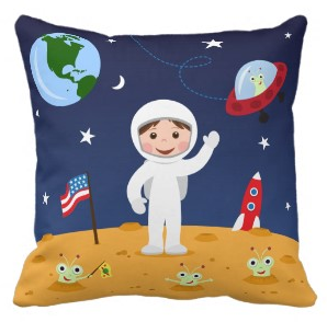 Custom space cartoon pillow for kids with spaceman, spacerocket and cue aliens