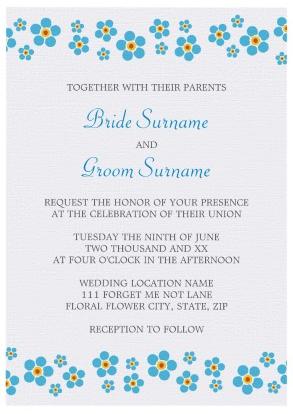 Elegant Forget Me Not Floral Border Wedding Invitation