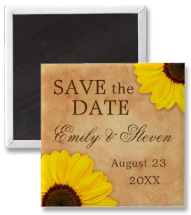 Elegant wedding save the date magnet with sunflowers on old, stained paper