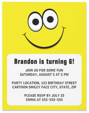Happy cartoon face or smiley birthday party invitation for kids