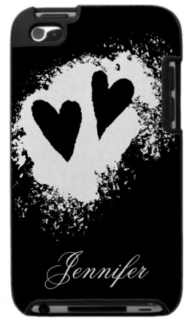 Cool and elegant personalized black and white heart stain iPod touch case