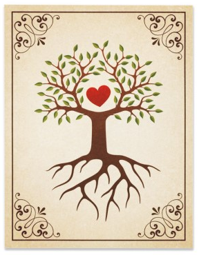 Beautiful family tree with heart wedding Save the Date ...