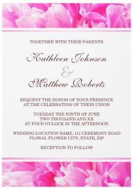 Beautiful pink peony flower floral summer wedding invitation