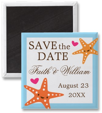 Cute kawaii starfish beach wedding Save the Date magnets