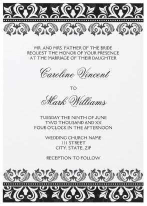 Elegant Black And White Damask Border Wedding Invitation