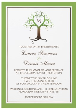 Monogram heart tree wedding invitation in brown and green
