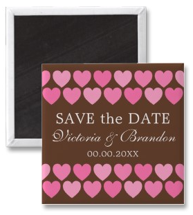Pink hearts on chocolate brown background custom wedding save the date magnet