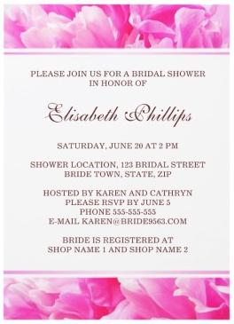 Romantic pink peony flower floral summer bridal shower invitation