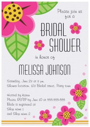 Pretty pink flowers floral bridal shower invitation