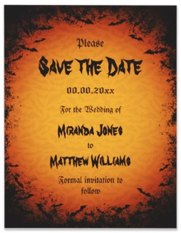 Spooky Halloween Bats Wedding Save The Date Announcements