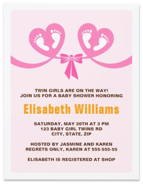 Twin girls baby shower invitation with little feet in pink hearts twin girls baby shower invitation with footprints and bow filmwisefo