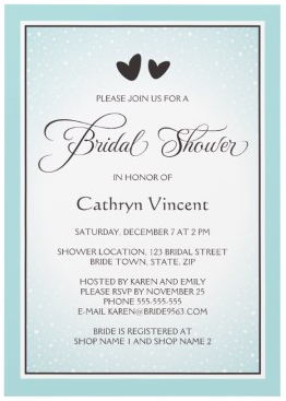 Brown and teal aqua winter wedding bridal shower invitation with hearts