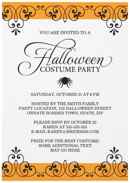 Elegant Halloween Costume Party Invitation With Spider