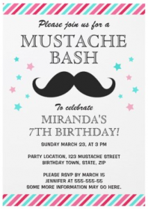 Aqua and pink stripes and stars mustache birthday party invitations for girls