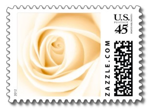 Beautiful soft cream colored and white rose wedding or bridal shower postage stamps