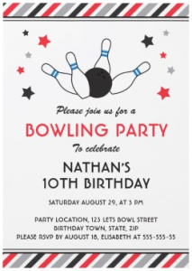 Retro bowling birthday party invitation with gray and red stripes