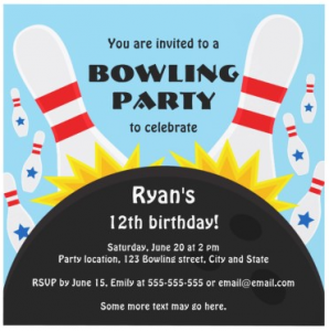 Flying pins and bowling ball blue birthday party invitation for kids