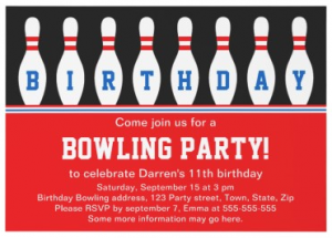 Red bowling party invitation with bowling pins for boys and girls