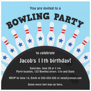 Bowling pins with stars and ball blue birthday party invitation for boys