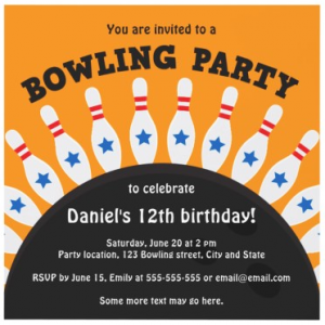 Fun bowling party invitation for kids with pins and ball