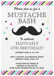 Colorful stripes (pink, lime green, aqua blue and gray and stars mustache birthday party invitation