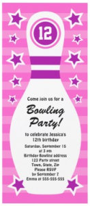 Cute, pink bowling birthday party invitation for girls with pin and purple stars