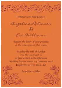 Elegant Leaves And Autumn Bloom Terracotta Deep Plum Purple Wedding Invitations